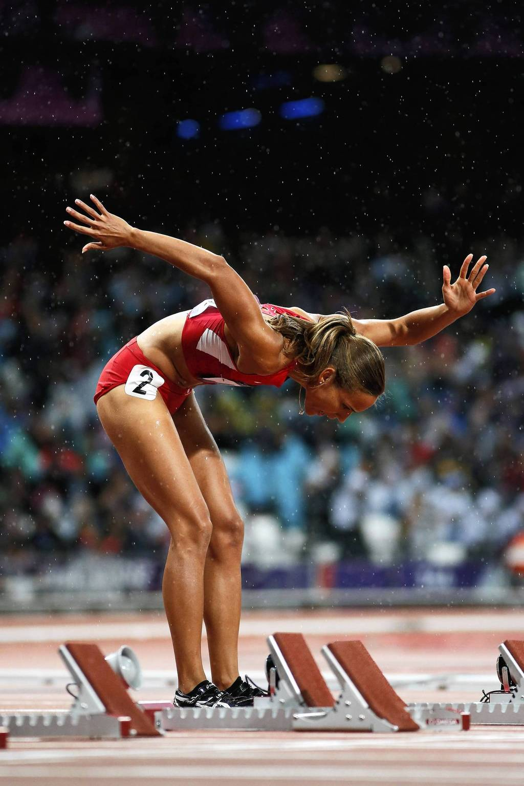 Lolo Jones of the United States competes in the 100m hurdles semifinals.