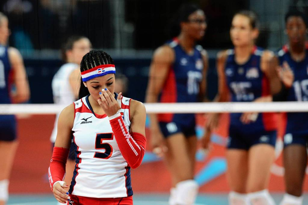 Dominican Republic's Brenda Castillo reacts during the quarterfinal volleyball match between the U.S.