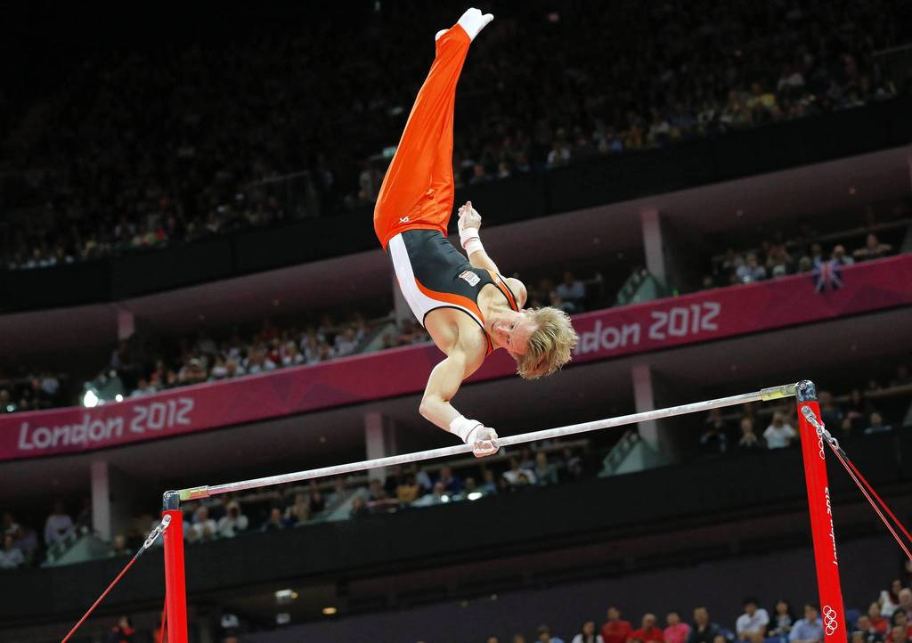 Netherlands's Epke Zonderland performs during the men's horizontal bar final of the artistic gymnastics event.