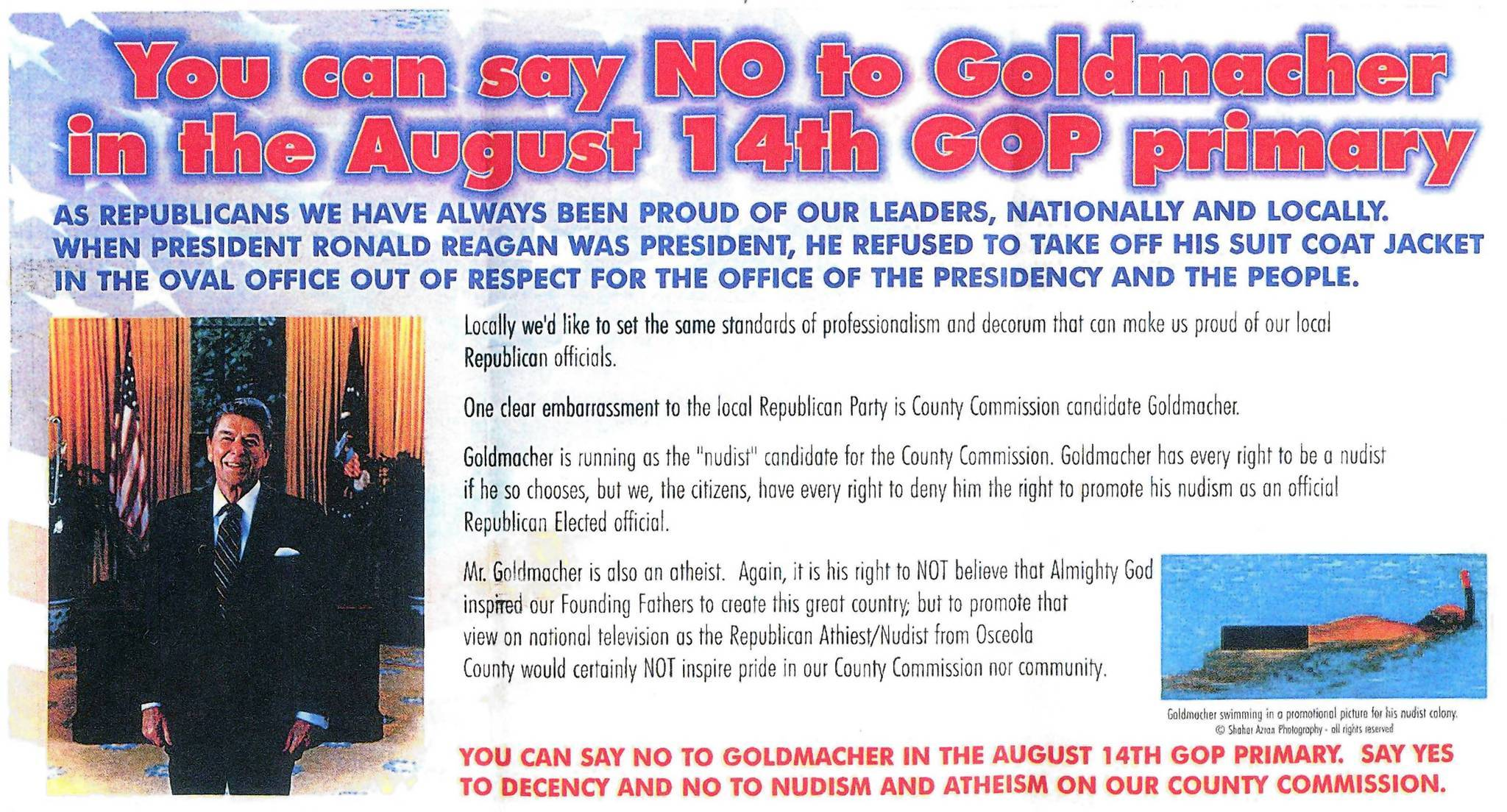 A flier attacking Osceola County Commission candidate Jeffery Goldmacher was sent by a Brevard County group called With Women We Will Win.