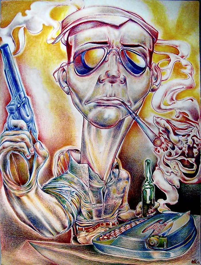 Untitled work by Eric Steen, part of an art tribute to Hunter S. Thompson