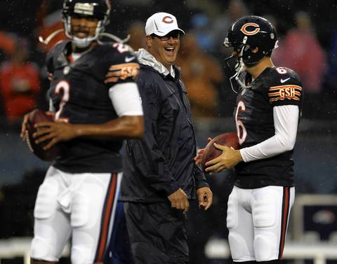 Offensive coordinator Mike Tice with Jay Cutler and Jason Campbell.