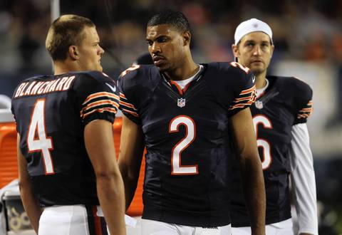 Quarterbacks Matt Blanchard, Jason Campbell and Jay Cutler on the sidelines in the first quarter.