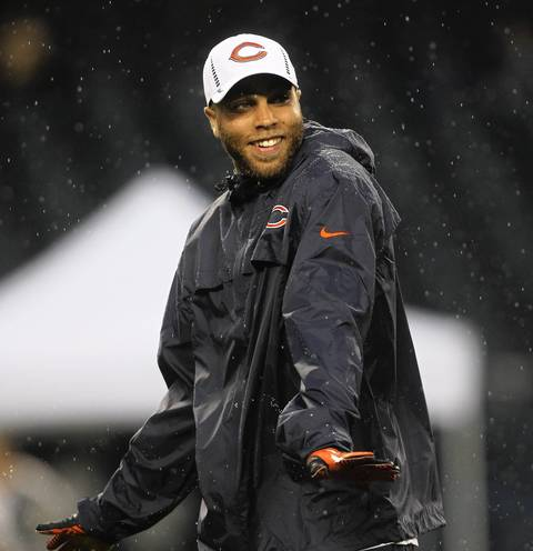 Injured wide receiver Johnny Knox on the field before his team faced the Broncos.
