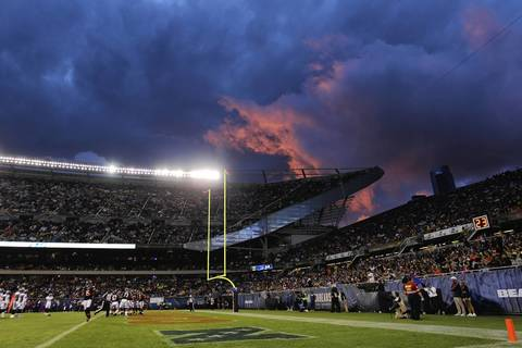 The sky before the Bears hosted the Broncos.