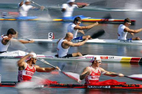 Athletes compete in the Men's Kayak Double (K2) 200m heat at the Eton Dorney during the London 2012 Olympic Games.
