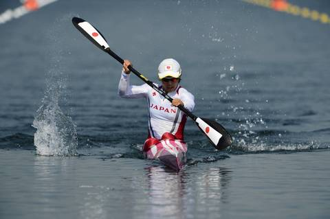 Japan's Shinobu Kitamoto competes in her Kayak Single (K1) 200m women's heat during the London 2012 Olympic Games at Eton Dorney Rowing Centre in Eton, west of London.