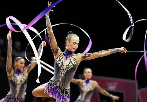 The Germany team competes in their group All-around rhythmic gymnastics qualification match at Wembley Arena.