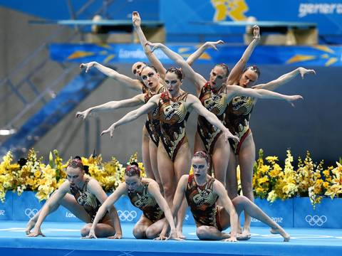 Team Russia performs their routine during the Synchronized Swimming team final at the London 2012 Olympic Games at Aquatics Centre. The team took gold in the event.