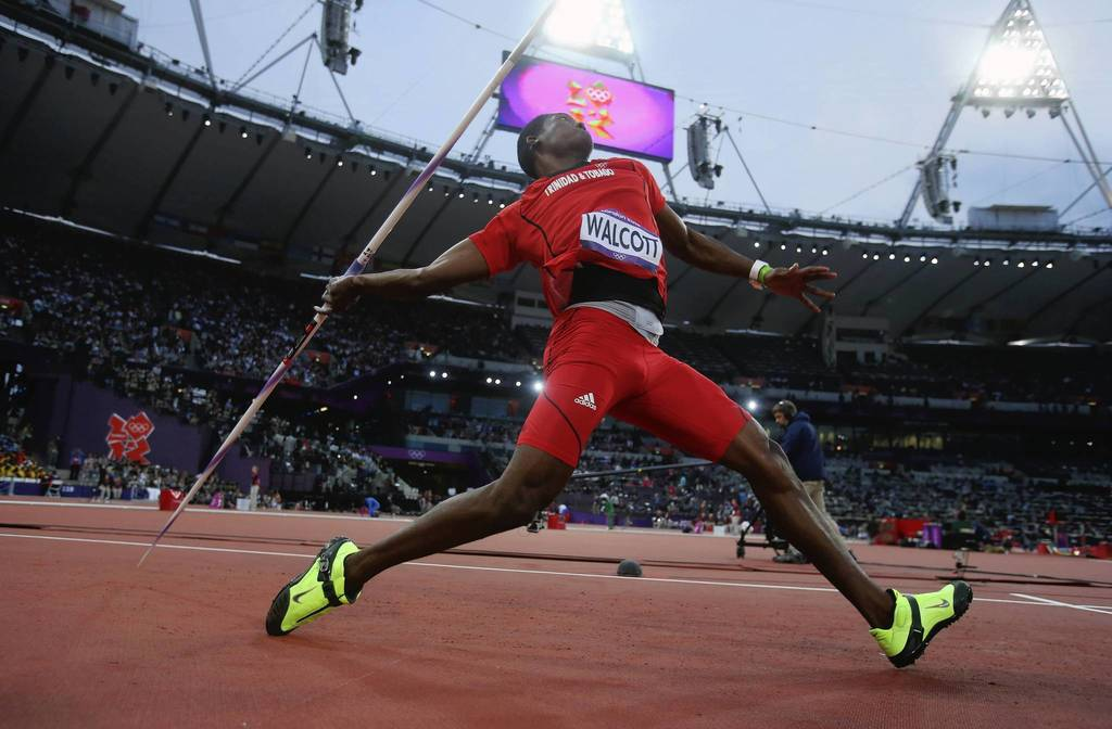 Keshorn Walcott of Trinidad and Tobago competes during the javelin throw final.