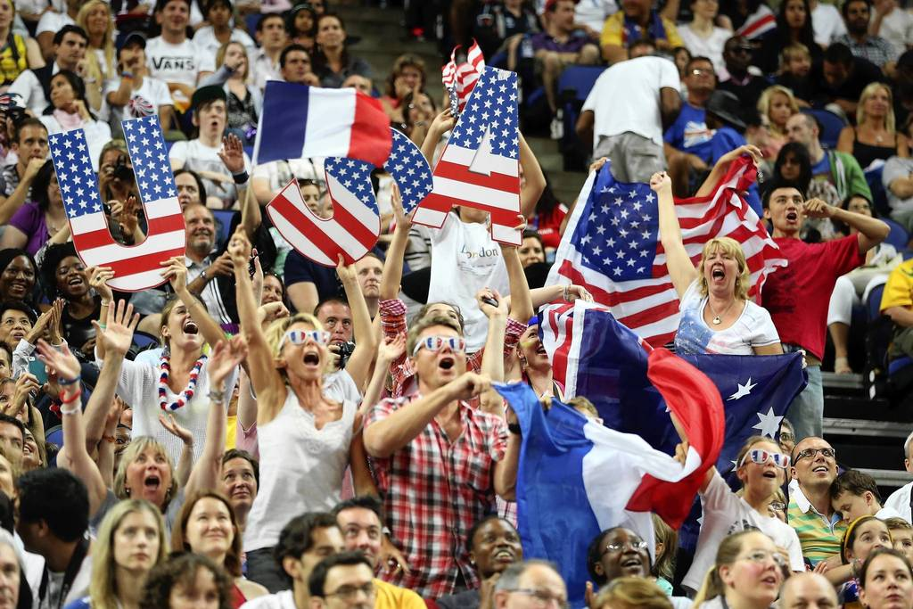 Fans show support for the U.S. prior to the gold medal women's basketball game against France.