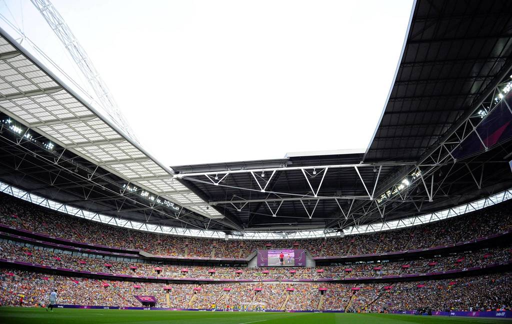 A view of Wembley Stadium during the men's soccer gold medal match between Brazil and Mexico.