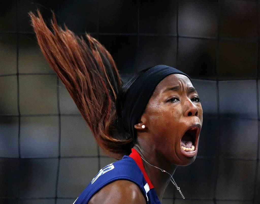 Destinee Hooker of the U.S. celebrates a point against Brazil during their gold medal volleyball match at Earls Court.