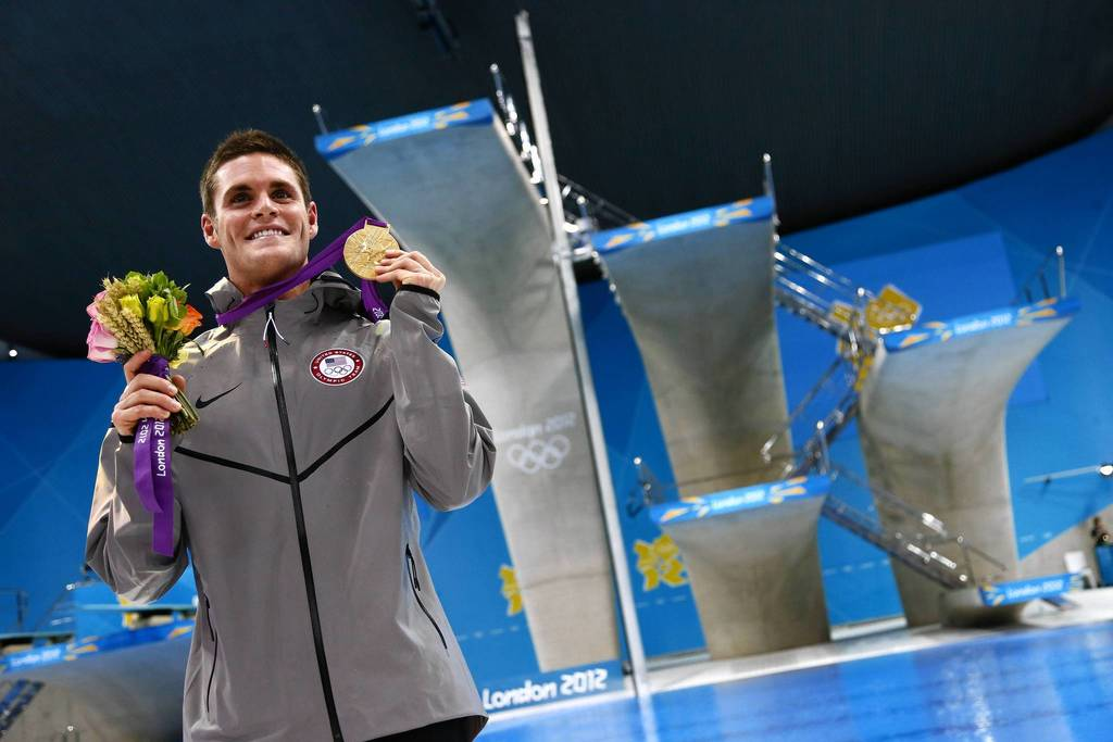 U.S. diver David Boudia celebrates with his gold medal in men's 10m platform final.
