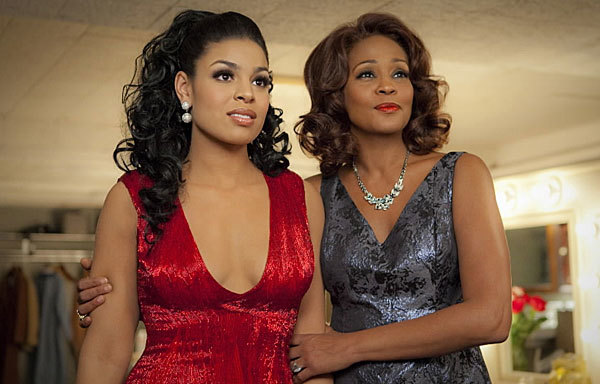 "Whitney Houston's posthumous presence is stealing at least some of the spotlight from Jordin Sparks, the ""American Idol"" winner who, in her inaugural film performance, plays the title role."