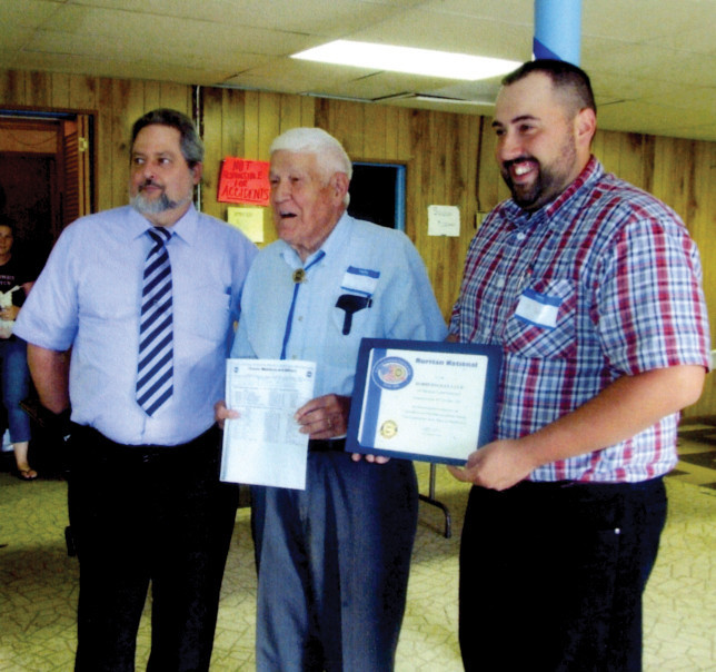 From left, Ruritan national representative Dennis Barthlow, oldest Rohrersville Ruritan Club living charter member Richard Haynes and Rohrersville Ruritan Club President J.R. Smith.