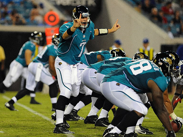 Quarterback Chad Henne of the Jacksonville Jaguars directs a play in the second quarter against the New York Giants in a preseason football game August 10, 2011, at EverBank Field in Jacksonville, Florida.