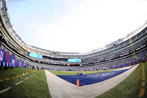 A general view of the field before the exhibition game between the Bears and Giants at Metlife Stadium.