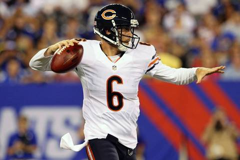 Quarterback Jay Cutler drops back to pass during the second quarter.