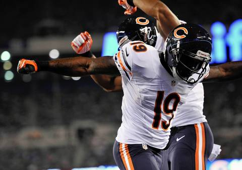 Joe Anderson celebrates his touchdown against the Giants during the second half.