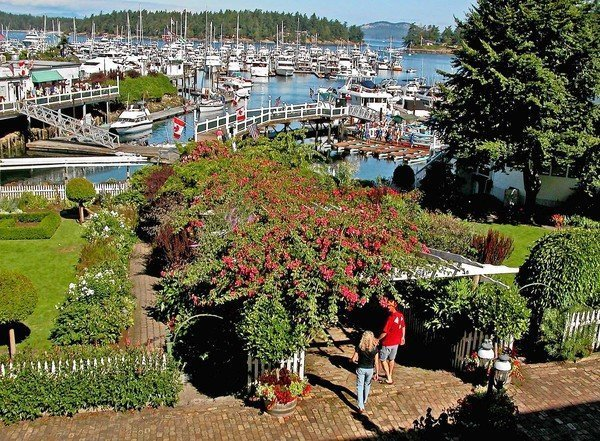 The marina at Roche Harbor, on San Juan Islands north end, includes a restaurant, accommodations and sculpture garden.