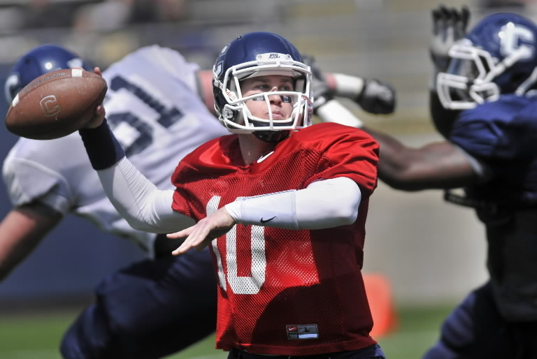UConn quarterback Chandler Whitmer in action during the Blue-White Spring Football Game at Rentschler Field in April.