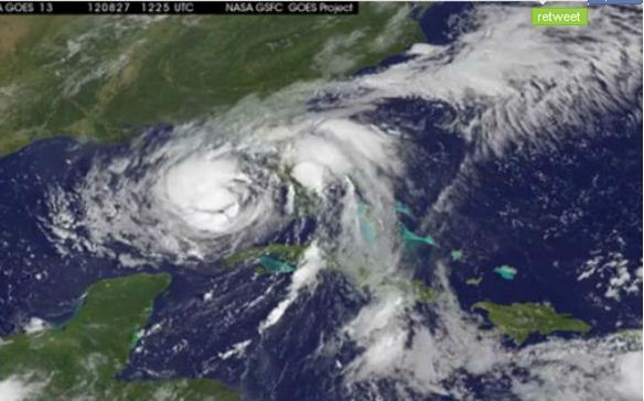 Isaac as seen from space on Monday