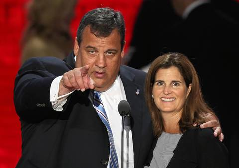 New Jersey Gov. Chris Christie, who will give the keynote address, and his wife Mary Pat Christie stand on stage for a soundcheck during the Republican National Convention at the Tampa Bay Times Forum in Tampa, Florida. Today is the first full session of the RNC after the start was delayed due to Tropical Storm Isaac.