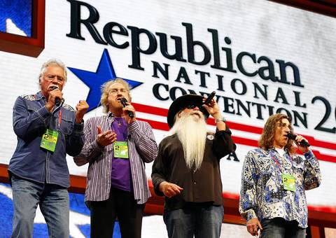 The Oak Ridge Boys practice Amazing Grace before the second session of the 2012 Republican National Convention at the Tampa Bay Times Forum.