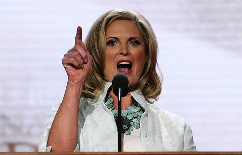 Ann Romney, wife of Republican presidential candidate, former Massachusetts Gov. Mitt Romney, does a sound check before the start of the second day of the Republican National Convention at the Tampa Bay Times Forum in Tampa, Florida.