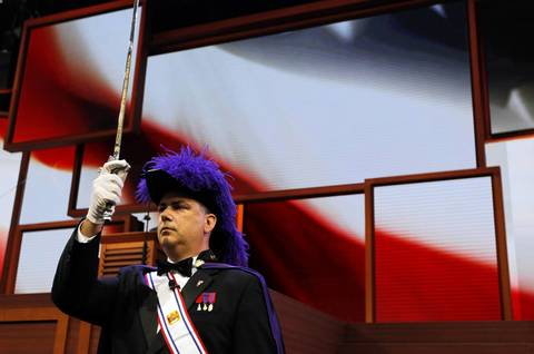 The Knights of Columbus present the colors at the Tampa Bay Times Forum in Tampa, Fla. on the first full day of the Republican National Convention.