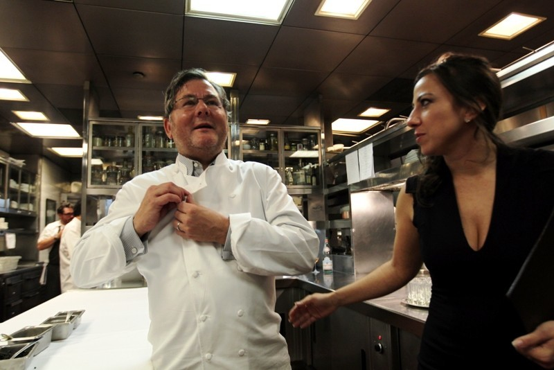 Charlie Trotter and Jennifer Trotter in kitchen during Charlie Trotter's 25th anniversary dinner in Chicago on Aug. 19.