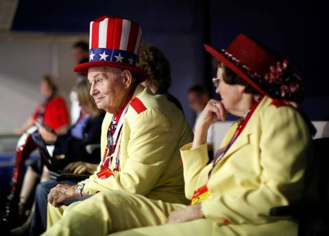 """""""Col."""" Oscar Poole from Georgia listens during the second session of the 2012 Republican National Convention in Tampa, Florida."""
