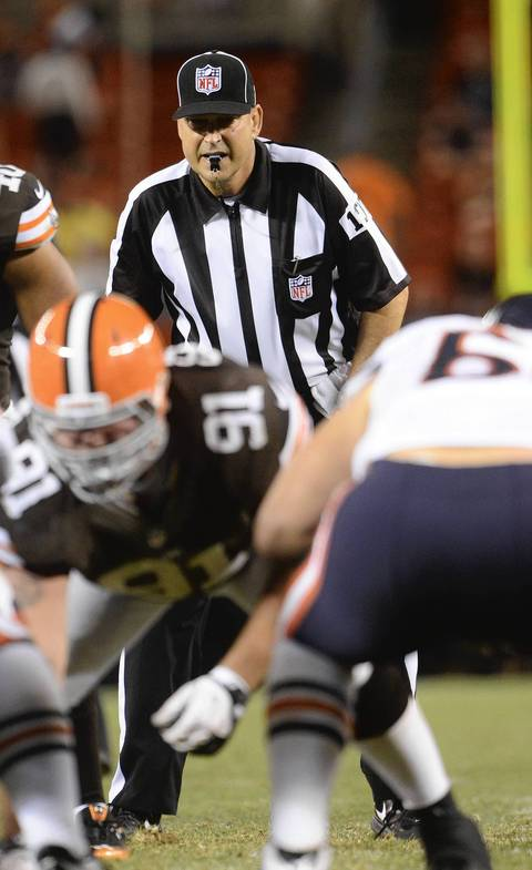 NFL replacement referee Darin Stiers during a preseason game.