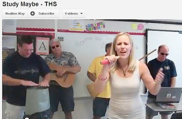 "Tavares High School special education teacher Heather Kay belts out lyrics to ""Study Maybe"" on YouTube, a school-themed parody of a popular song by Carly Rae Jepsen. Also pictured are teachers Clayton Butts, David Sanford, Robert Champion and Robert Moore."