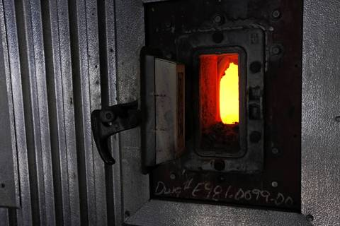 A view inside the furnace door where the heat can reach 1000 degrees at the Fisk coal fired power plant.