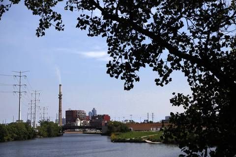 A view of the Fisk coal fired power plant along the Chicago River in Pilsen.