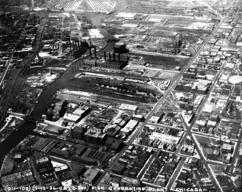 An aerial view of the Fisk Generating Plant in 1936.