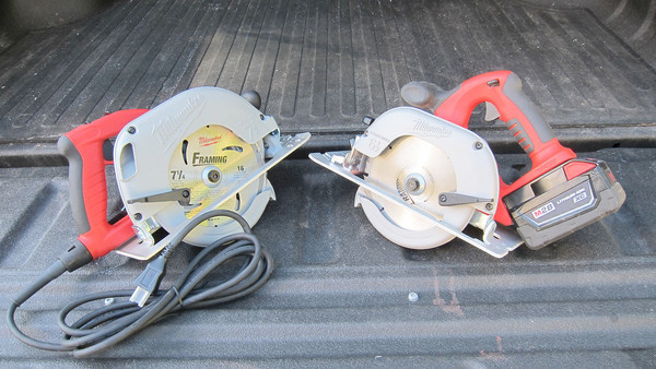 Here are two nearly identical circular saws. The price is nearly the same for both, but they differ greatly.