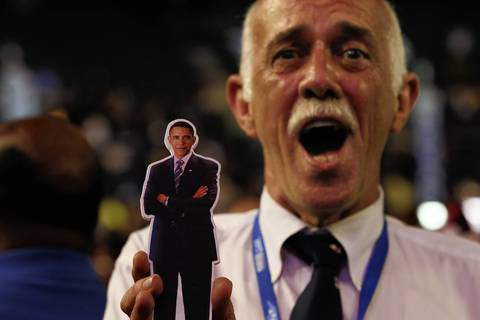 Delegate James Long, from North Carolina, sports an Obama cutout at the Time Warner Cable Arena in Charlotte N.C. on the first day of the Democratic National Convention.