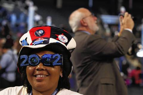 Tiffany Powers comes decked out and ready for the first day of the 2012 Democratic National Convention in Charlotte, N.C.