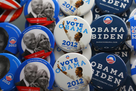 Souvenir campaign buttons are put out for sale during day one of the Democratic National Convention at Time Warner Cable Arena on Tuesday in Charlotte, North Carolina. The DNC, which will run through September 7th, will nominate U.S. President Barack Obama as the Democratic presidential candidate.