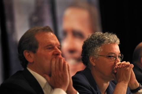 Illinois Senate President John Cullerton and Cook County Board President Toni Preckwinkle listen to speeches at the Illinois delegation breakfast Tuesday in Charlotte, N.C.
