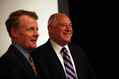 Illinois House Speaker Michael Madigan and Illinois Gov. Pat Quinn appear happy together as the Illinois delegation meets for breakfast and speeches on Tuesday Sept. 4, 2012 in Charlotte N.C.