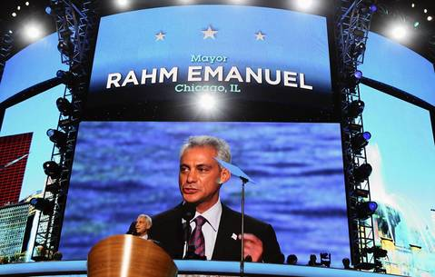 Chicago Mayor Rahm Emanuel addresses the delegates.