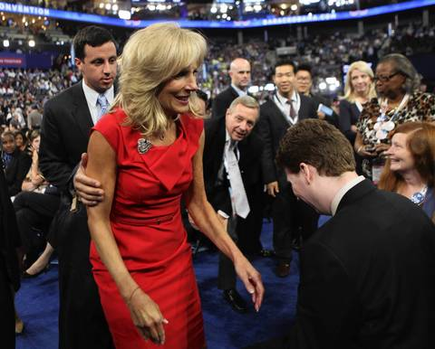 Jill Biden walks through the crowd on the floor of the convention.