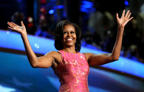 First lady Michelle Obama arrives on the stage to speak at the Democratic National Convention.