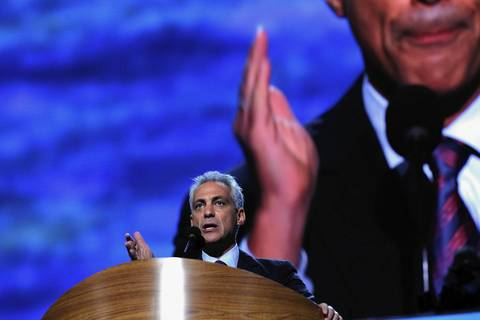 Chicago Mayor Rahm Emanuel talks about his former boss at the Democratic National Convention.
