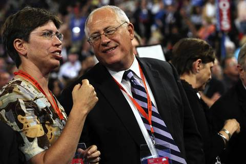 Illinois Lt. Gov. Sheila Simon and Gov. Pat Quinn share a moment together at the Democratic National Convention.