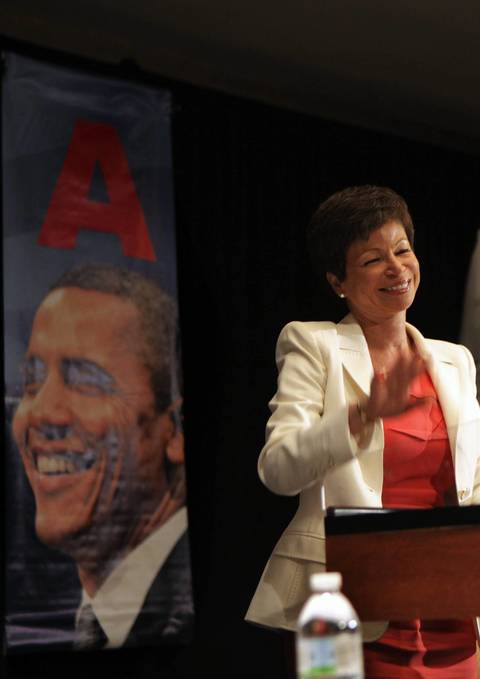 White House senior advisor Valerie Jarrett speaks at the Illinois delegation breakfast on the second day of the Democratic National Convention.